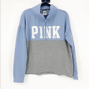 PINK VS 1/2 Zip Color Block Sweatshirt